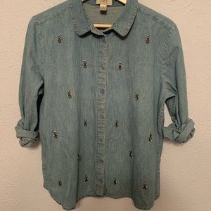 Loft Outlet Chambray Jeweled Top